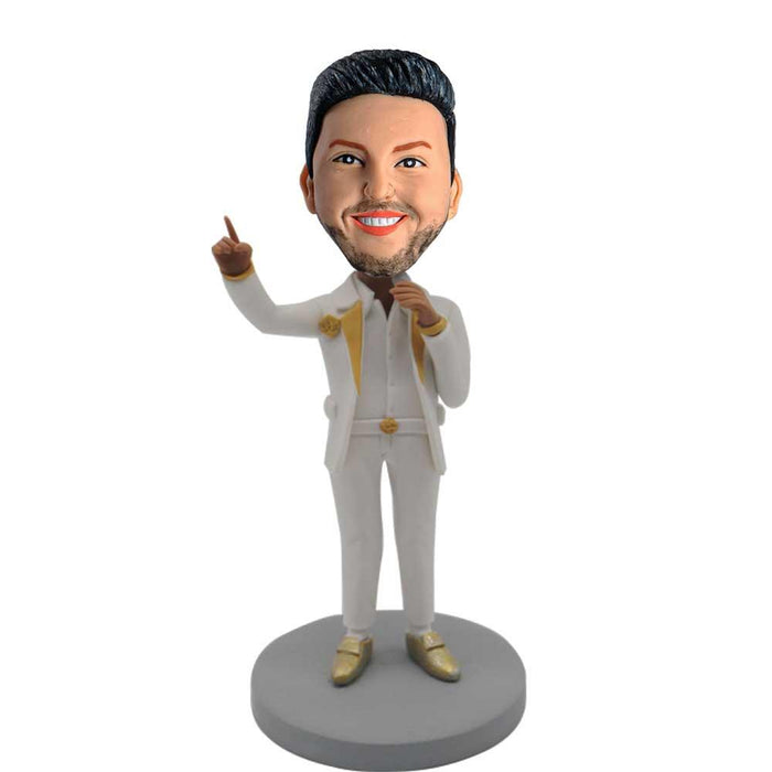 Handsome Man Speaking with Microphone Custom Figure Bobblehead