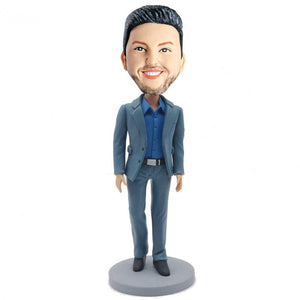 Handsome Walking Business Man In Blue Suit Custom Figure Bobblehead