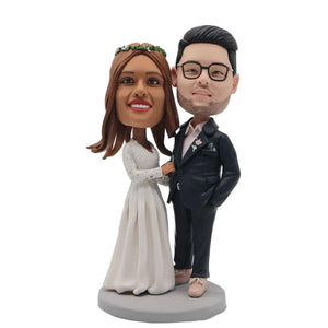 Happy Arm In Arm Wedding Anniversary Custom Figure Bobblehead