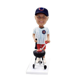 Happy BBQ Man with Barbecue Rack Custom Figure Bobblehead