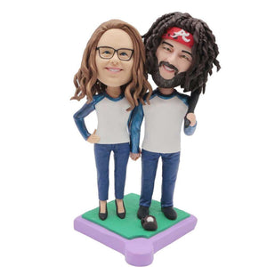 Happy Baseball Couple In Blue Clothes Custom Couple Bobblehead
