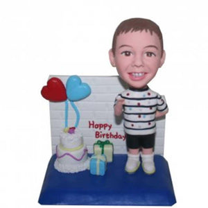 Happy Birthday Boy with Cake and Gifts Custom Figure Bobblehead