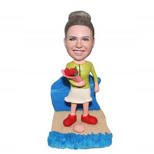Happy Birthday Lady with Flowers Custom Figure Bobblehead