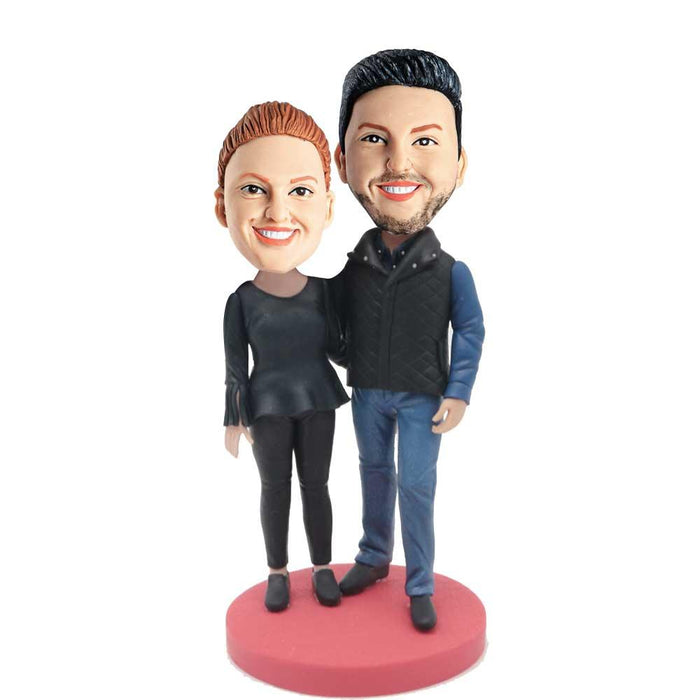 Happy Couple In Black Casual Clothes Custom Couple Bobblehead
