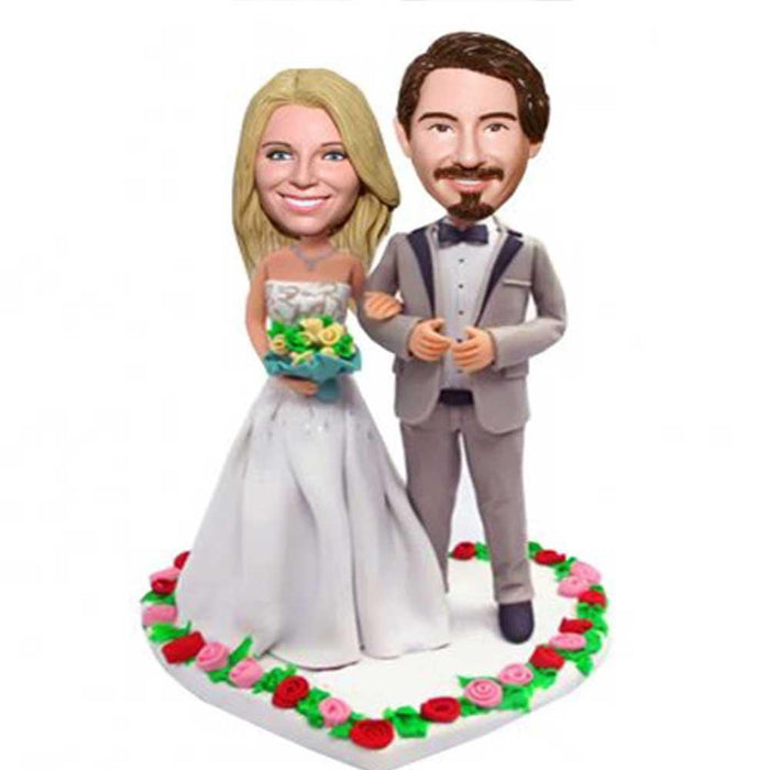 Happy Couple In Heart-shaped Flowers Wedding Anniversary Custom Figure Bobblehead