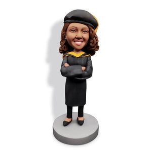 Happy Crossed Arms Female Graduates In Black Gown Custom Graduation Bobblehead