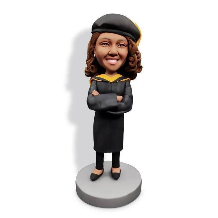 Personalized Happy Crossed Arms Female Graduates In Black Gown Custom Graduation Bobblehead Gift