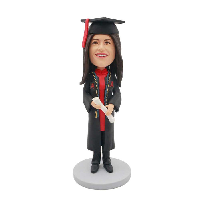 Happy Female Graduate In Black Gown With Yellow And Blue Ribbons Custom Graduation Bobblehead