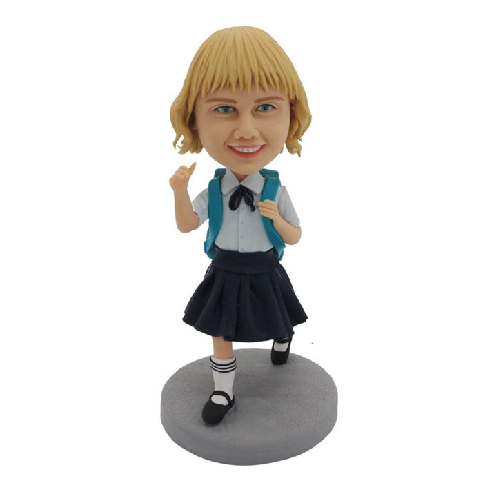 Happy School Uniform Girl Carrying Schoolbag Custom Figure Bobblehead