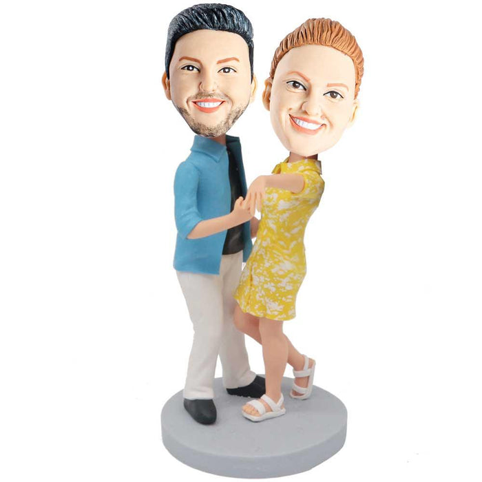 Happy Waltzing Couple In Casual Clothing Custom Couple Bobblehead
