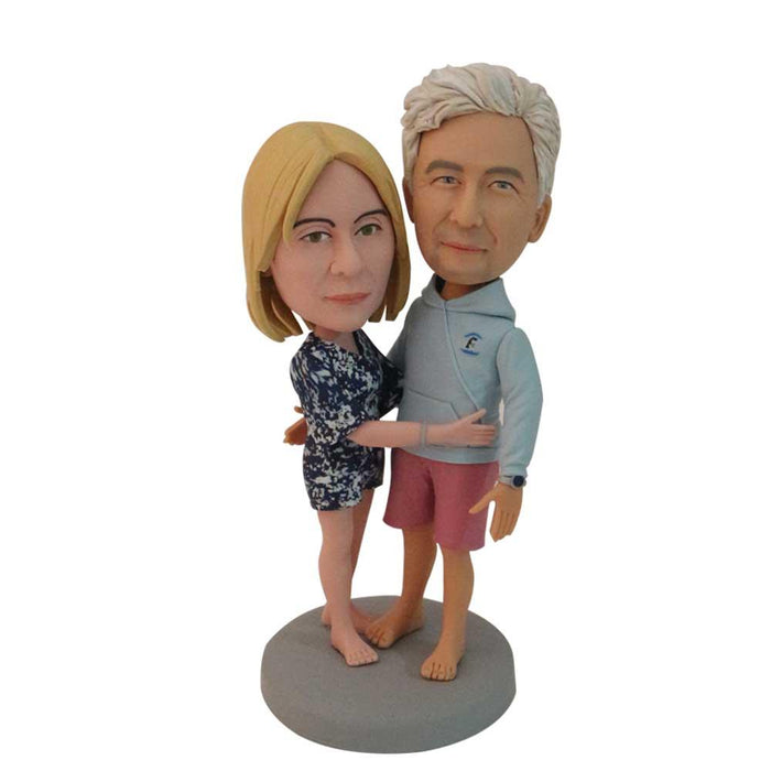 Lovingly Hugging Casual Couple Custom Figure Bobblehead