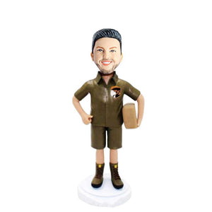Mailman Postman in Work Clothes Holding Courier Box Custom Figure Bobblehead