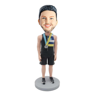 Male Athletes In Sport Suit With A Medal Custom Figure Bobblehead
