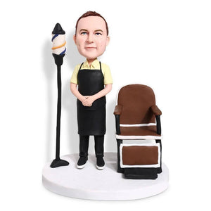 Male Barber Hair Dresser With Chair and Floor Lamp Custom Bobblehead