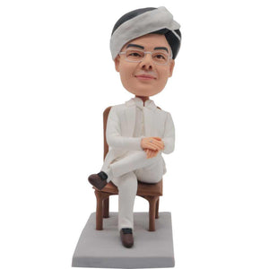 Male Boss In White Suit Sitting On Chair With Legs Crossed Custom Figure Bobblehead