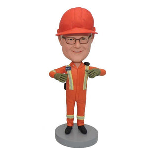 Male Construction Worker In Orange Overall Custom Bobblehead