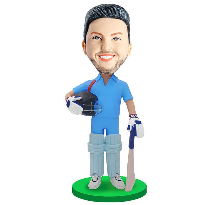 Male Cricket Player In Blue T-Shirt Custom Cricket Bobblehead