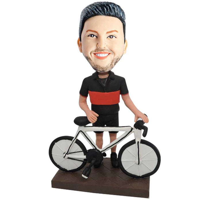 Male Cyclist In Black And Red T-Shirt Custom Figure Bobblehead