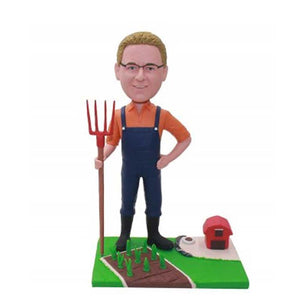 Male Farmer Holding Manure Fork Custom Figure Bobblehead