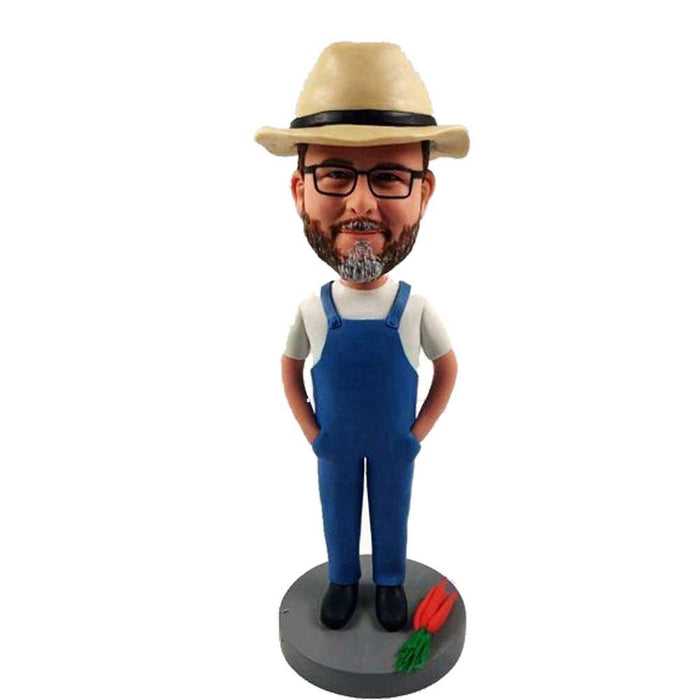 Male Farmer in Jumpsuit with Carrots Custom Gardener Bobblehead
