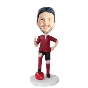 Male Football Soccer Player with Thumbs-up Custom Figure Bobblehead