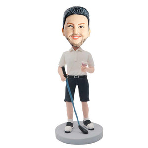 Male Golfer with Golf Clubs And Wine Glasses Custom Figure Bobblehead