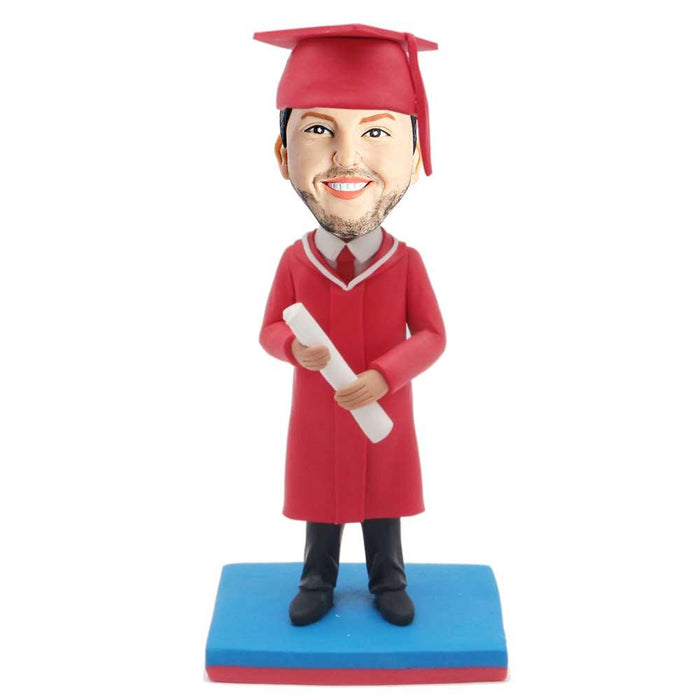 Male Graduate In Red Graduation Gown With Diploma Custom Graduation Bobblehead