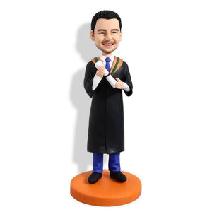 Personalized Male Graduates In Black Gown And Blue Pants Custom Graduation Bobblehead Gift
