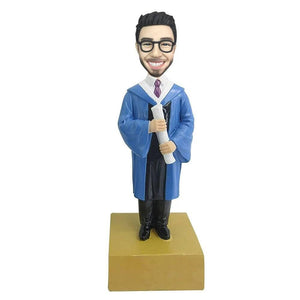 Male Graduate With Blue Gown Custom Figure Bobblehead