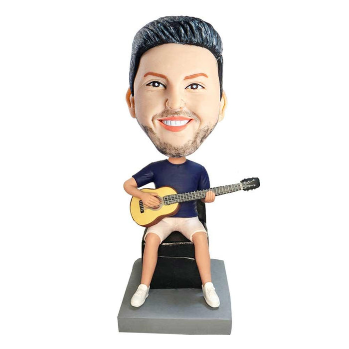 Male Guitarist In Dark Blue T-shirt Siting On A Chair And Holding A Guitar Custom Figure Bobblehead