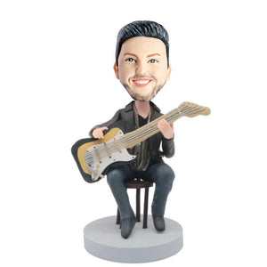 Male Guitarist Siting On The Chair And Holding A Guitar Custom Figure Bobblehead
