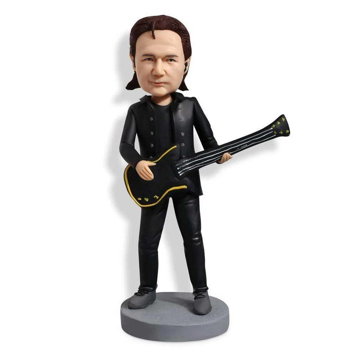 Male Guitar Player in Black Leather Custom Figure Bobblehead