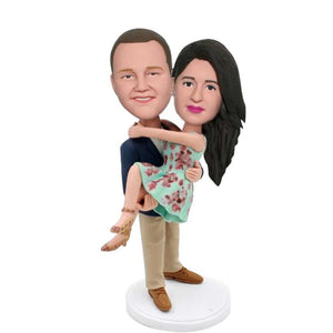 Male Hugging Female Couple Custom Figure Bobblehead