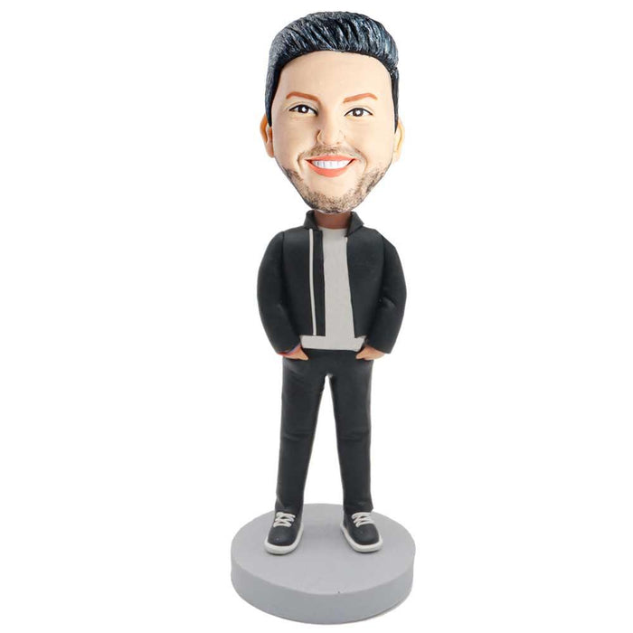 Male In Black Jacket And Hands Insert Pocket Custom Figure Bobblehead