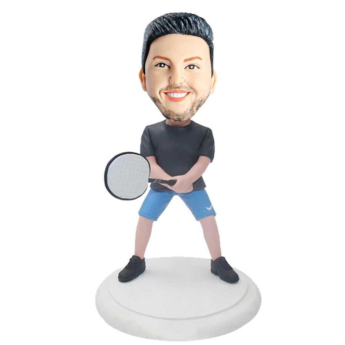 Male Badminton Player In Black T-Shirt Holding Badminton Racket Custom Figure Bobblehead
