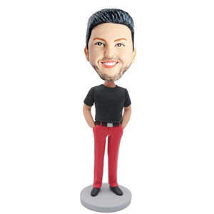 Male In Black T-shirt And Red Pants Custom Figure Bobblehead