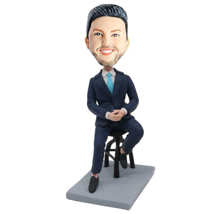 Male Office Boss In Dark Blue Suit And Sitting On A Stool Custom Figure Bobblehead