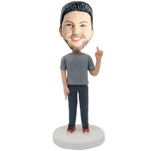 Male In Gray T-shirt And Finger To Heaven And Earth Custom Leisure Bobblehead