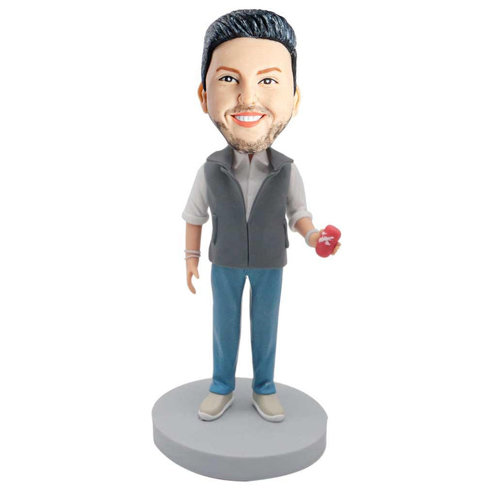 Male In Gray Waistcoat With A Drink Custom Figure Bobblehead