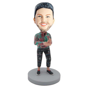 Male In Red And Green Shirts And One Hand OK Sign Custom Figure Bobblehead