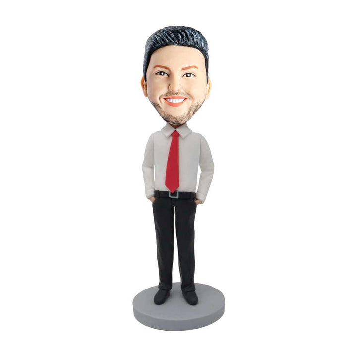 Male Office Manager In White Shirt And Red Tie Custom Figure Bobblehead
