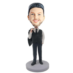 Male Office Staff In Black Suit And Coat Over Shoulder Custom Figure Bobblehead