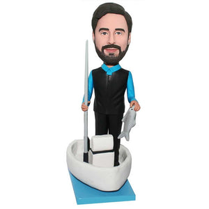 Male Standing On Yacht Fishing Custom Figure Bobblehead
