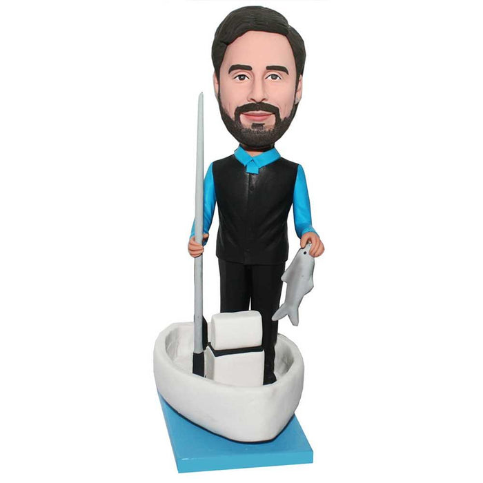 Male Standing On Yacht Fishing Hunting Custom Figure Bobblehead