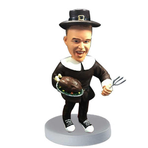 Male with the Turkey and Fork Custom Figure Bobblehead