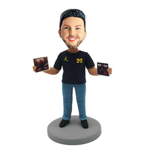 Man with Records In His Hands Custom Figure Bobblehead
