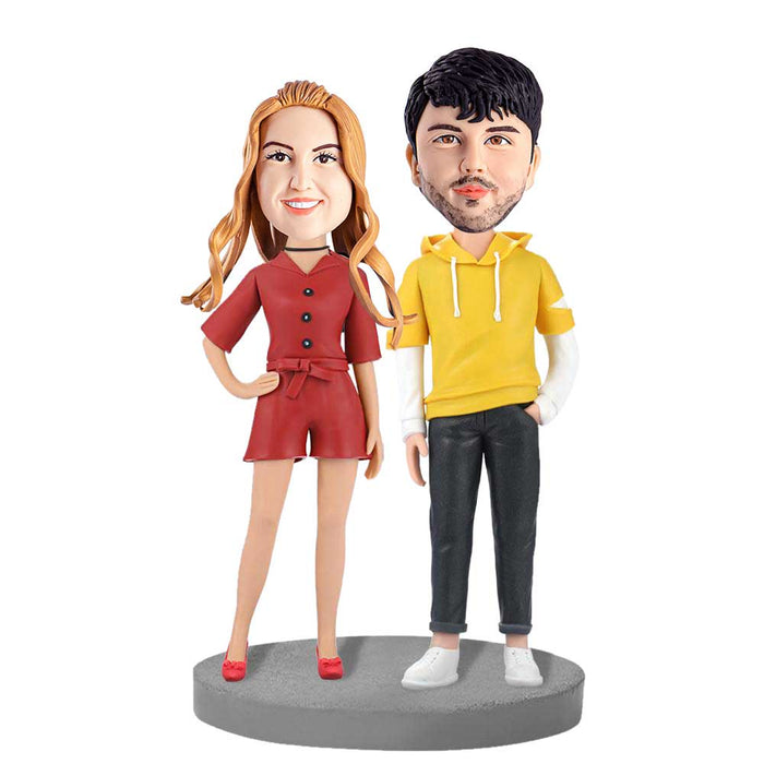Model Couple in Casual Clothes Custom Figure Bobblehead