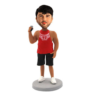 Muscular Man Holding Wine Glass Custom Figure Bobblehead