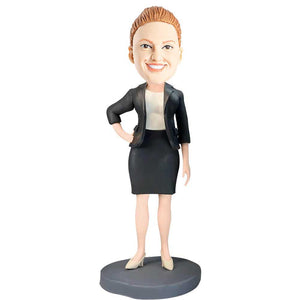 Office Lady Boss With One Hand Akimbo Custom Figure Bobblehead