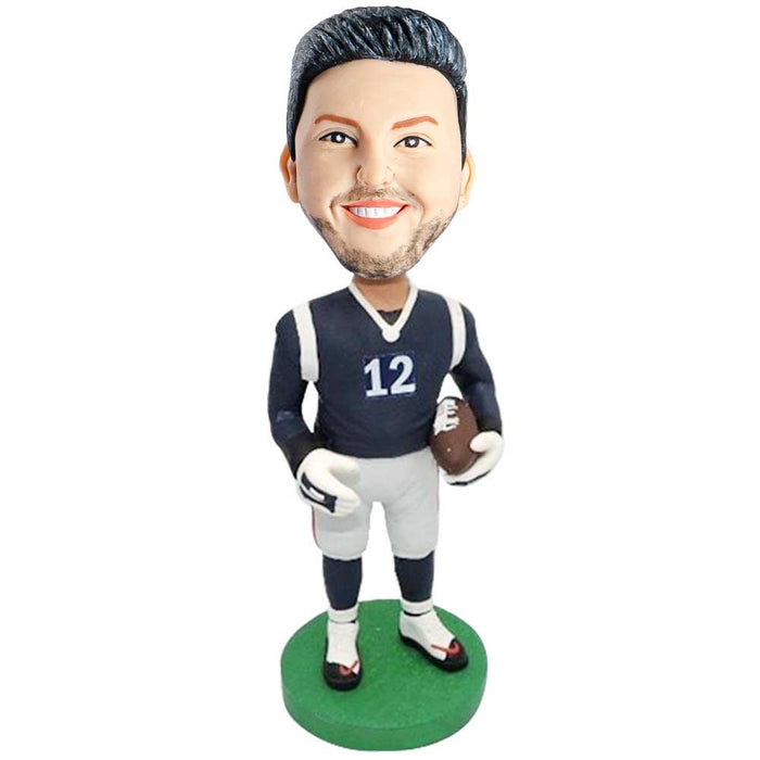 Male Rugby Player In White And Blue Sportswear Holding Rugby Custom Figure Bobblehead